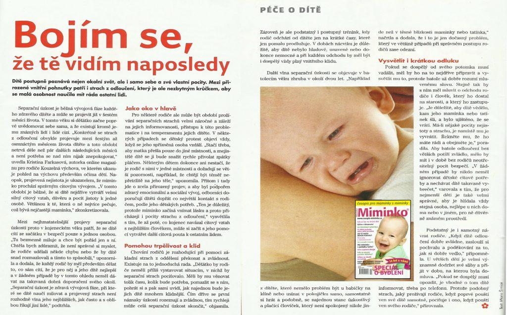 Časopis Miminko - článek